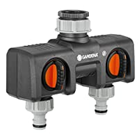 GARDENA Twin-Tap Connector: Connects two devices to the tap, can be used with GARDENA water computers and timers, water flow can be regulated or switched off (8193-20)
