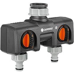 GARDENA 2-Wege-Verteiler: Anschlussmöglichkeit für 2 Geräte an den Wasserhahn, passend zu GARDENA Bewässerungscomputern & -uhren, Wasserdurchfluss regulier- und absperrbar (8193-20)