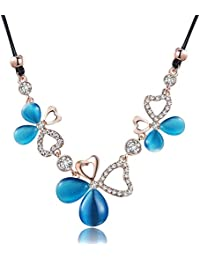 City Ouna® blau Opal Halskette für Frauen Mädchen Leder Seil Charm Kette  Lady Zubehör Schmuck a266e1765f