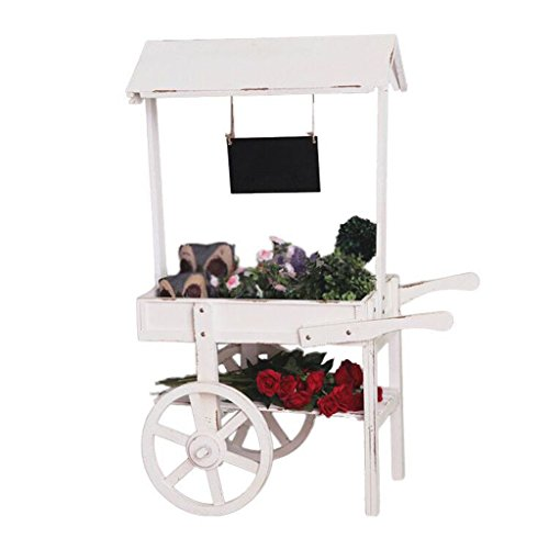 Retro Holz Go-Cart Message Board Go-Kart Dekorative Outdoor-Garten Go-Cart Blumen Pflanzer Push Cart 119 * 79 * 56 Cm,White