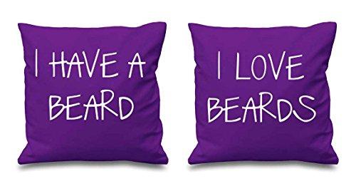 J'ai une Barbe I Love barbes Violet Housses de coussin 40,6 x 40,6 cm Couples Coussins Saint Valentin Anniversaire de mariage Chambre à coucher Coussin décoratif Maison