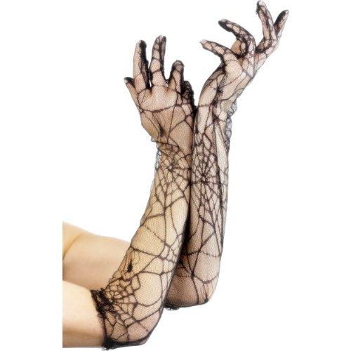 Halloween Zubehör Spinnennetz Handschuhe zum Hexe (Spinnennetz Handschuhe Kostüme)