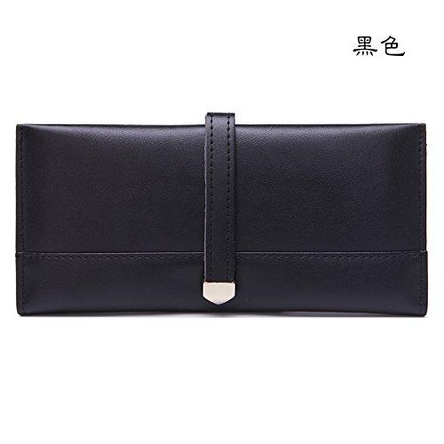 Mefly Onorevoli Portafoglio In Pelle Coreano Lunga Tagliatelle Morbida Borsa A Mano Moda Claret black