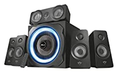Idea Regalo - Trust Tytan Gaming GXT 658 Sistema Set di Altoparlanti Surround 5.1, con Subwoofer Illuminato LED Blu, Potenza Totale di 180 Watt, Nero