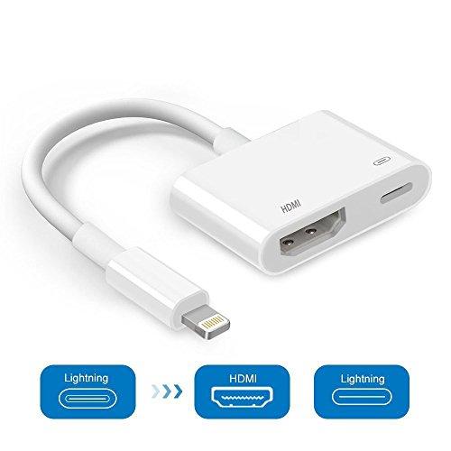 Lemorele Lightning zu HDMI Adapter, Blitz Digital AV Adapter 1080P für ausgewählte iPhone, iPad und Modelle-Weiß