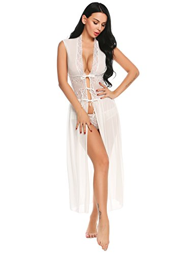 INZOE Dessous Kimono Spitze Reizwäsche  Transparente Damen Kleid Gown Kurz Robe Mesh mit Gürtel   und G-String Bikini Cover Up Spitze Sommer Bat Weiter  Ärmel  , Medium,  Weiß   (Kimono-robe-kleid)