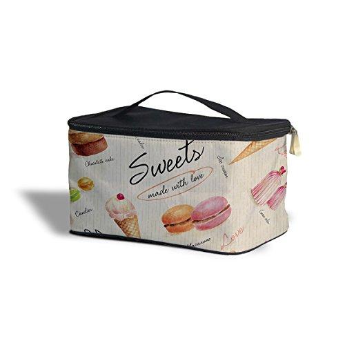 Bonbons et desserts Cosmetics étui de rangement – Maquillage à fermeture Éclair Sac de voyage, Polyester, marron, One Size Cosmetics Storage Case