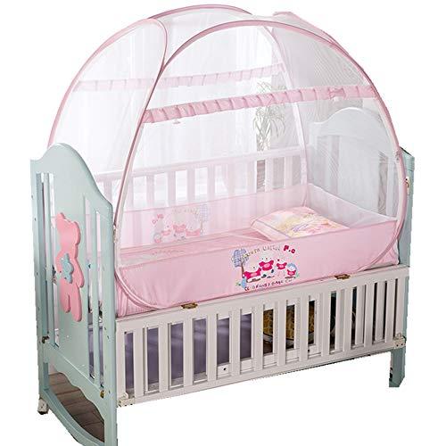 Babybett Sicherheit Pop Up Zelt, Sommer Moskitonetz Für Kinder, Faltbare Insektenschutznetz Pop Up Kinderbett Für 0-5 Jahre Alt Rosa,140CM*70CM*110CM (Feste Für Kleinkind-bett Das Zelte)