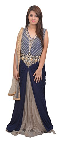 Manshi Women's Net Salwar Suit Set (Blue & Grey, Large)