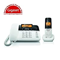 Gigaset C330 Digital Corded-Cordless Phone Combo,180 Hr Stanby,Voicemail,Conference Call,Caller ID,150 Contact Storage,50M Indoor-300M Outdoor Range,Germany Technology for Home&Office C330 Black/White