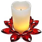 Echtwachs Flambiance LED Kerze, hochwertig mit einstellbarem Farbwechsel und Timer-Funktion in einer Lotus Blüte aus echtem Kristall-Glas
