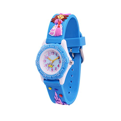 c6e096026377 WOLFTEETH Analog Grade School Niño Niños Reloj con Segunda Mano 3D Princess  Strap Blanco Dial Agua