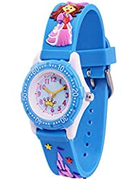 WOLFTEETH Analog Grade School Niño Niños Reloj con Segunda Mano 3D Princess Strap Blanco Dial Agua Resistente Chica Reloj Azul…