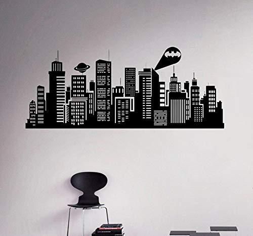 Gotham City Vinyl Wandaufkleber Batman City Comic Home Interior Home Wanddekoration Wandtattoo 102x42cm