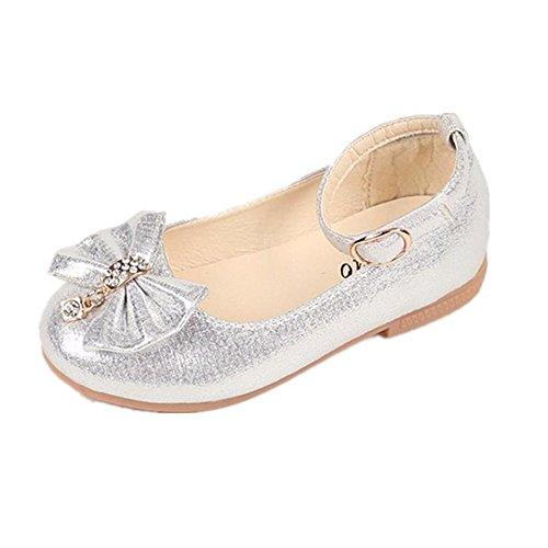Byste scarpe da bambina bowknot scarpe da principessa fondo morbido scarpette da ballo scarpe singole ragazze mary jane scarpe basse principessa bridal partito formale (20 eu, argento)