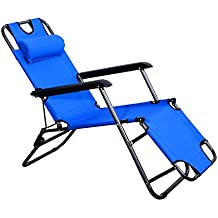 Outsunny Tumbona Reclinable y Plegable de Jardín - Color Azul - Tela Oxford y Acero -