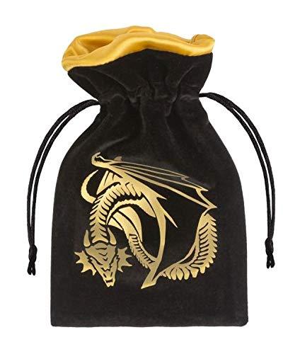 Qworkshop Sacchettino per Dadi Velour con Drago Color Oro e Nero