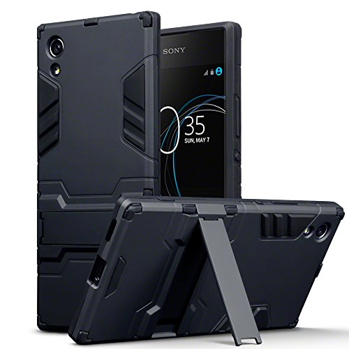 Terrapin, Kompatibel mit Sony Xperia XA1 Hülle, Silikon + Polycarbonat Tasche mit Standfunktion - Schwarz