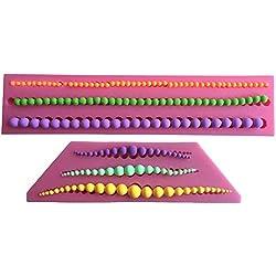 MOLLYSKY 2 PC/sistema Collar de perlas de decoración de la torta 3D Edge moldes de silicona pasta de azúcar del molde de la torta de la cadena,Rosa