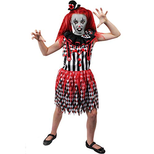 B-kreative Mädchen Childs Killer-Clown-Kostüm Childs Horror BEÄNGSTIGEND Halloween Fancy Kleid (Kleine 4-6 Y/O) (Kostüm und (Mädchen Killer Clown Kostüm)