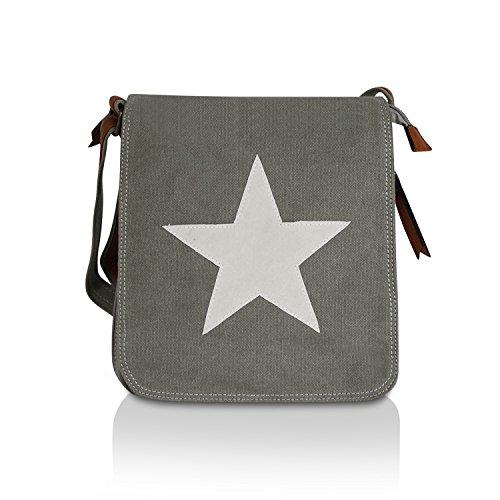 Gloop Top Fashion Sterne Handtasche Schultasche Canvas KunstLeder Trend Tragetasche TS201701 23027 Grau