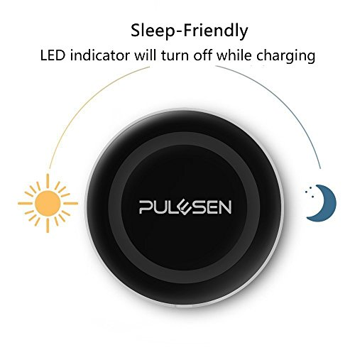 pulesen Wireless kabelloses Ladegerät Charger [sleep-friendly] [Ultra Slim] Qi Kabellose Ladestation Ladegerät Charger Pad für Samsung Galaxy Note 8 S8 S8 Plus S8 + S7 S7 Edge S6 Edge Plus Note 5 iPhone X 8 8 Plus und alle qi Geräte