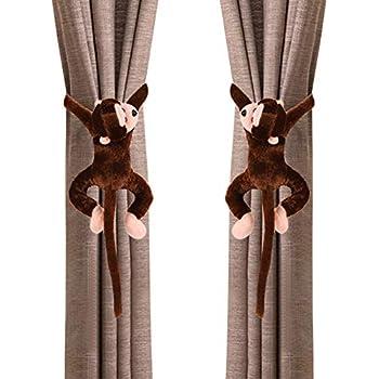 AMOYER 1pair Rideau Embrasses avec Motif Cartoon Singe Beau Rideau Porte Buckles Clips Chambre Enfants Rideaux