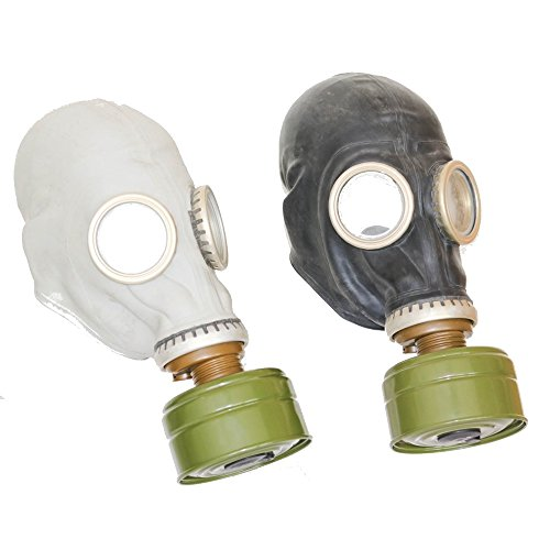 Set of two original soviet russian USSR gas masks in diferent color GP-5 in gray and GP-5 in black both masks with (Green Mask Gas)