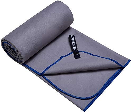 Cressi Microfibre Fast Drying Playa Toalla Sport, Adultos Unisex, Gris/Azul, 90x180