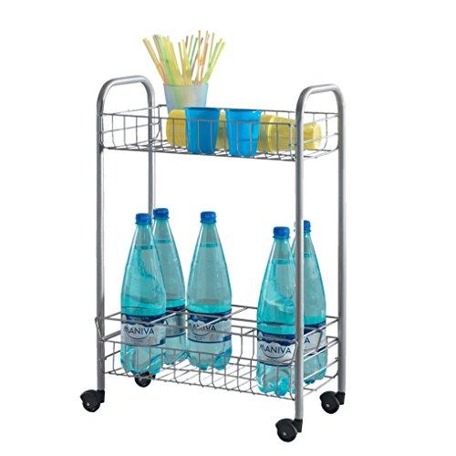 Metaltex, Carrello multifunzione con porta bottiglie Milano, Argento (Edelstahloptik)