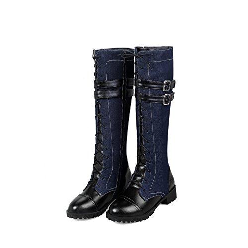 Cowboy Stiefel Gürtelschnalle Denim Frauen Stiefel Große Größe Stiefel,A,35