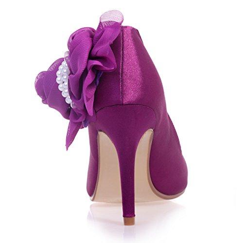 Chalmart Escarpins Mariage Aiguille Chaussure à Talon Femme Soirée élégant Violet