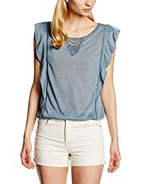 Tom Tailor Denim Volantshirt with Crochet, T-Shirt Femme