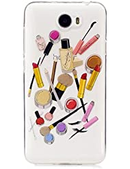 MUTOUREN TPU Case-für Huawei Y5 II Schutzhülle/Hülle/Handyhülle-Silikon-Kasten-Abdeckungsschutz - Ultra dünn Durchsichtig Kristall Anti-scratch Drucken Handycover-Motif Make-ups-Lippenstift Pinsel Set Augenbrauenstift Patten