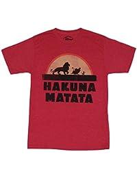 El Rey León (Disney)–Camiseta de manga corta para hombre diseño de silueta de Hakuna Matata atardecer de marzo