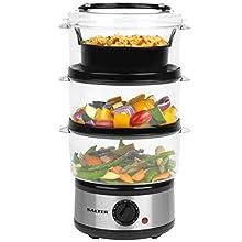 Salter EK2726 Healthy Cooking 3-Tier Food Rice Meat Vegetable Steamer | 7.5 L | 60 Minute Timer | 3 Year Guarantee, Stainless Steel, 7.5 liters