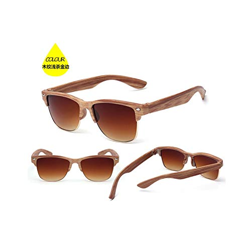 Sport-Sonnenbrillen, Vintage Sonnenbrillen, NEW Fashion Wood Sunglasses For Women Men Auti-UV Semi Rimless Sun Glasses Eyewear Half Frame Sunglass Gafas De Sol light tea gold
