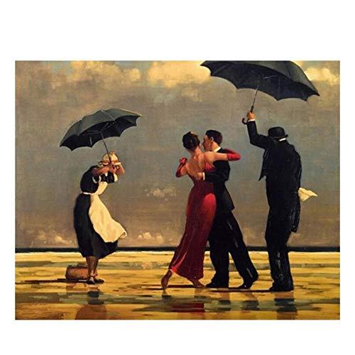 RYUANYUAN Strandschirm Malen Nach Zahlen Abstrakt Tanzen Liebhaber Ölgemälde Auf Leinwand Dekorative Gemälde Acryl Wandkunst 50x70cm Gerahmt