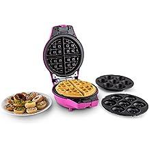 oneConcept Trinity Mini forno automatico 3in1, cupcake, waffel, muffin, ciambelle (stampi intercambiabili in alluminio, antiaderente, 1000W, cottura 5 a 8 min, cupcake/mini-ciambelle 5cm diametro) - rosa