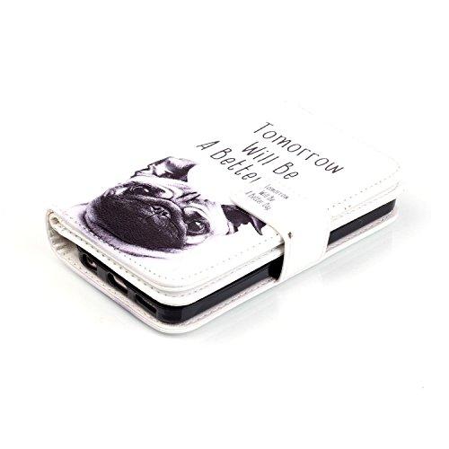 iPhone 5C Hülle, iPhone 5C Hülle Ledertasche Brieftasche im BookStyle mit Retro Muster, SainCat PU Leder Wallet Case Folio Schutzhülle Hülle Bumper Handytasche Skin Schale Soft Backcover Handy Tasche  Mops