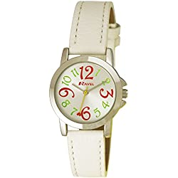 Ravel Funky Fashion Girl's Quartz Watch with Silver Dial Analogue Display and White Plastic Strap R0126.04.2