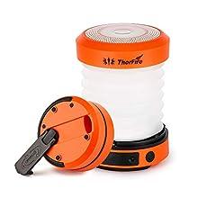 ThorFire Lampe de Camping 2 en 1 Lanterne Portatif Rechargeable USB Mini LED Pliable - Orange