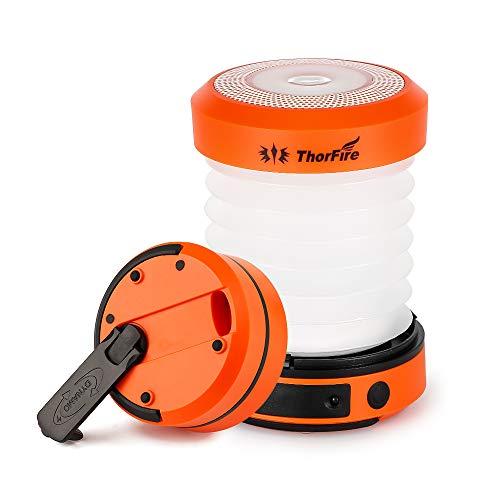 ThorFire Mini LED Faltbare Laterne, tragbar, wiederaufladbar durch Kurbel und USB, für Camping, Biwak, Wandern, Keller, Baby-Girls, 2, 2