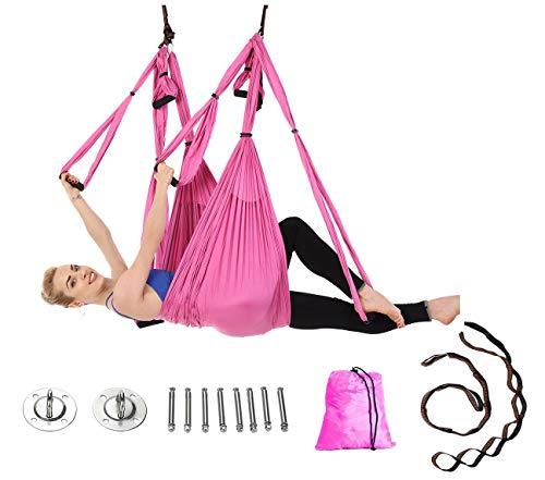JIALFA Aerial Yoga Hängematten,Ultra Starke Antigravity Yoga Schaukel,Luft Trapez Kit - Inversionsübungen, Verbesserte Flexibilität & Kernfestigkeit - Montagezubehör Inklusive (Rosa) Rosa Trapez