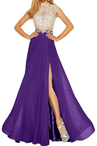 ivyd ressing robe robe deux partie mousseline et pierres tuell A ligne Party Prom Lave-vaisselle robe robe du soir Violet
