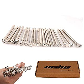 Amon Tech 20PCs Leather Different Shape Stamp Punch Set Saddle Making Tools for Leather Craft Working Moon Flower Butteryfly Shape