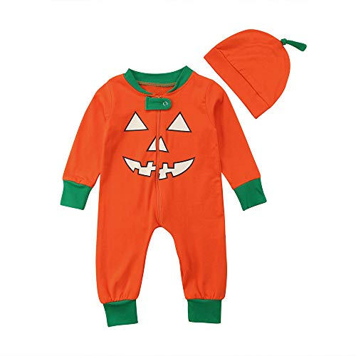 Yesmile Kinder Halloween Kleidung Baby Boys Kleinkind Kleid Infant Toddler Mädchen Halloween Pumpkin Drucken Jumpsuit Party Bodysuit (3-18 Monate)
