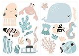 Wandtattoo Kinderzimmer Wandtattoo Set Niedliche Unterwasserwelt mit Meerestier