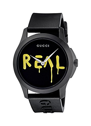 Gucci Unisex-Adult Analogue Classic Quartz Watch with Rubber Strap YA1264017
