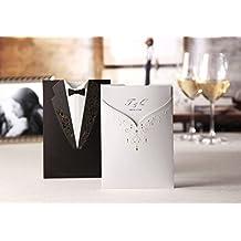 VStoy bolsillo invitaciones de boda tarjetas negro y blanco 20piezas Juego para matrimonio compromiso novio y novia diseño oro estampado con sobres sellos recuerdo de la fiesta